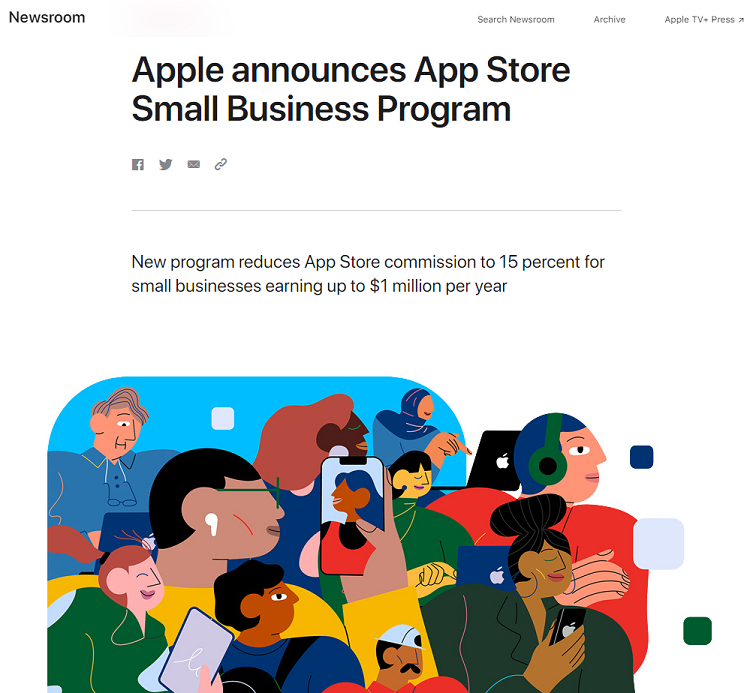 苹果新政出台:年收入低于百万美元开发者,佣金下调至15%.png